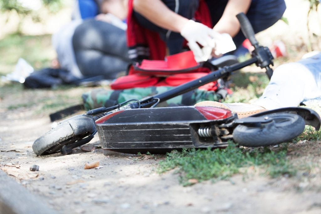 First aid after electric scooter accident